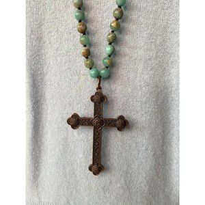 Cross and Stone Necklace
